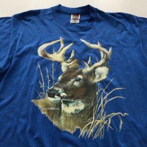 Vintage Deer Tee Graphic Wildlife 90s Shirt L USA